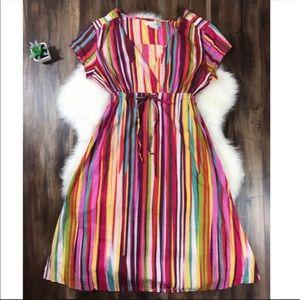 BODEN Multi Color Striped Tie Waist Midi Dress